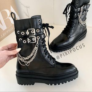 NEW ZARA Chain Leather Lace Up Combat Boots 8